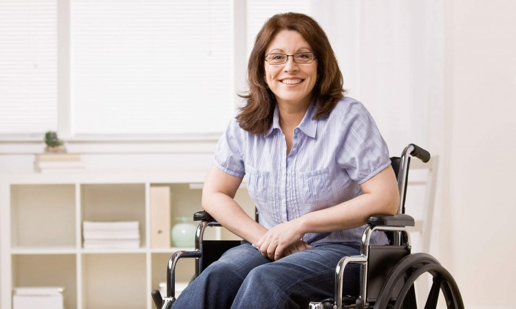Young woman using a wheelchair